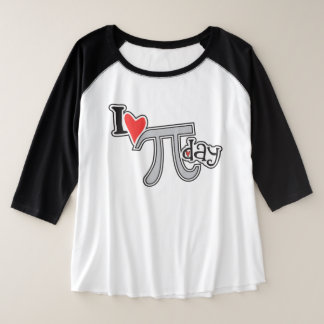 I heart Pi Day Cool Pi Symbol Plus Size Clothing Plus Size Raglan T-Shirt