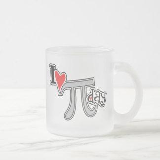 I heart Pi Day Frosted Glass Mug