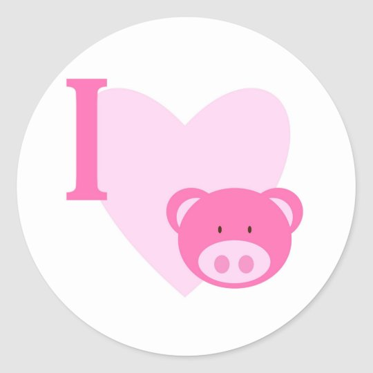 I Heart Pigs Stickers