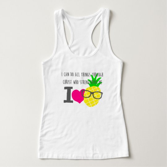 I heart pineapples razor back tank top