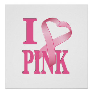 I Heart Pink Cancer Ribbon 2 Poster