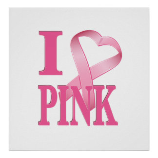 I Heart Pink Cancer Ribbon Posters