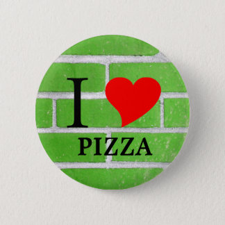 I Heart Pizza green brick 2 Inch Round Button