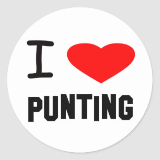 I Heart punting Classic Round Sticker