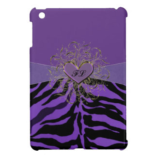I Heart Purple Zebras Monogrammed Case iPad Mini Case