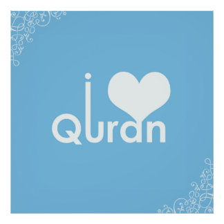 I Heart Quran Poster on Baby Blue
