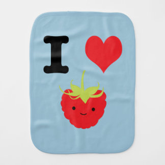 I Heart Raspberries Burp Cloth