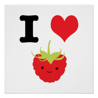 I Heart Raspberry Perfect Poster