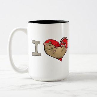 I heart rats (tan) Two-Tone coffee mug