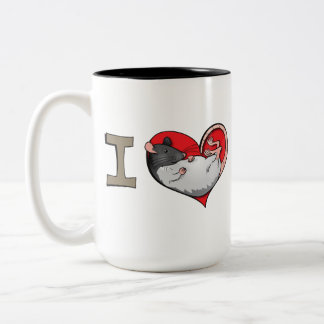 I heart rats Two-Tone coffee mug