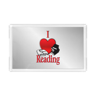 I Heart Reading Acrylic Tray