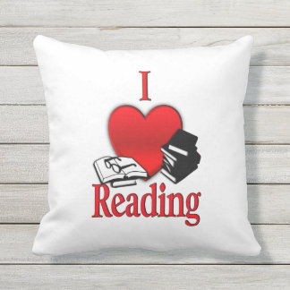 I Heart Reading Throw Pillow