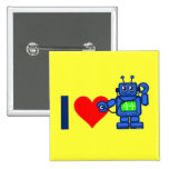 I heart robot 2 inch square button