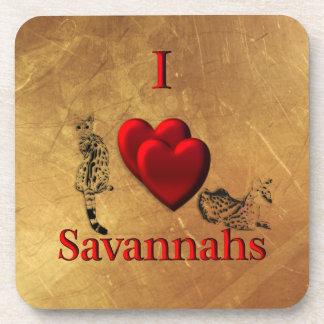 I Heart Savannah Cat Beverage Coasters