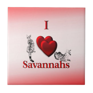 I Heart Savannah Cat Ceramic Tile
