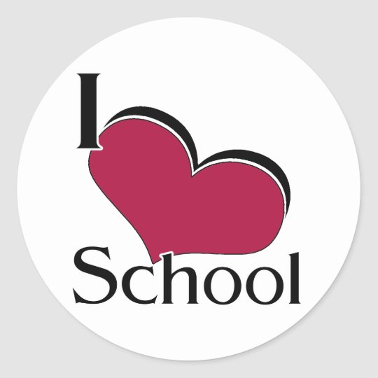 "I ""heart"" School Classic Round Sticker"