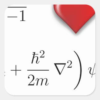 I heart Schrodinger equation Square Sticker