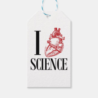 I heart science pack of gift tags