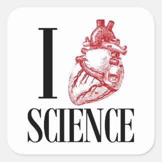 I heart science square sticker