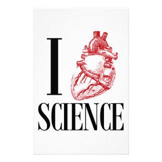 I heart science stationery