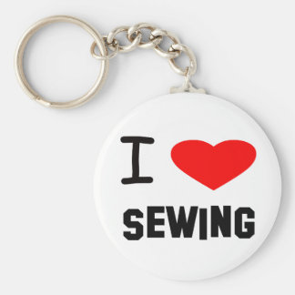 I Heart sewing Basic Round Button Keychain