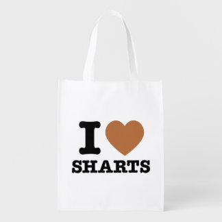 I Heart Sharts Funny Graphic Grocery Bags