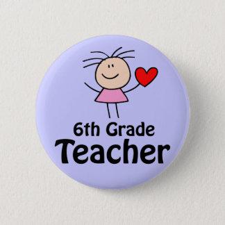 I Heart Sixth Grade Teacher 2 Inch Round Button
