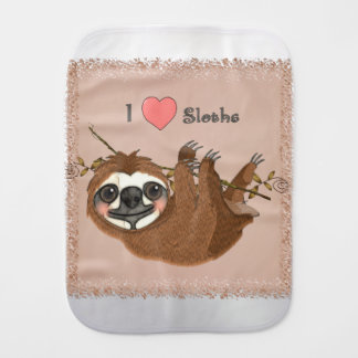 I Heart Sloths Baby Animals Burp Cloth