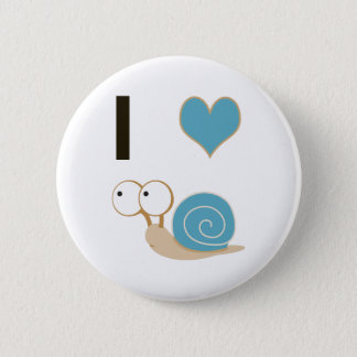 I heart snails - blue 2 inch round button