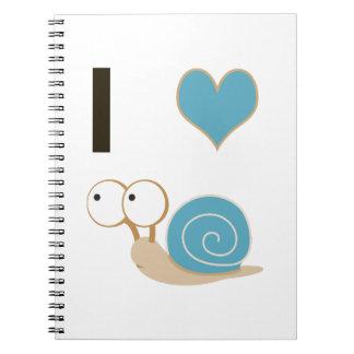 I heart snails - blue notebook