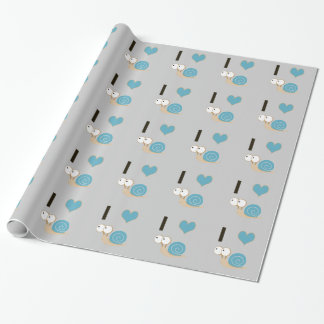I heart snails - blue wrapping paper