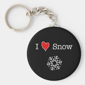 I (heart) Snow Basic Round Button Keychain