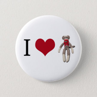 I Heart Sock Monkey 2 Inch Round Button