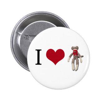 I Heart Sock Monkey 2 Inch Round Button