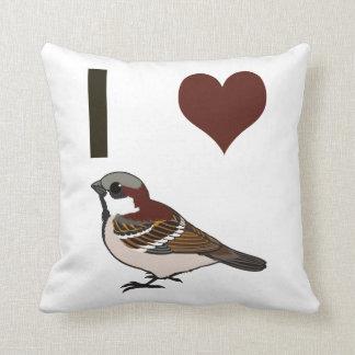 I heart sparrows throw pillow
