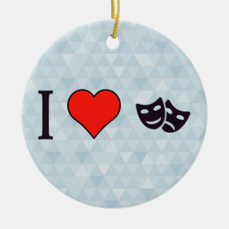 I Heart Stage Plays Round Ceramic Ornament