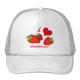 I heart strawberries trucker hat