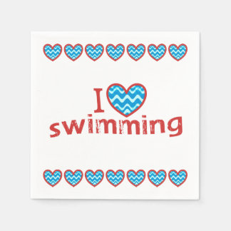 I heart Swimming for Swimmers Paper Napkin