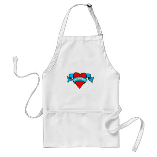 I heart swimming tattoo standard apron