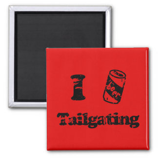 I Heart Tailgating with Beer Can - Any Team Colors Square Magnet