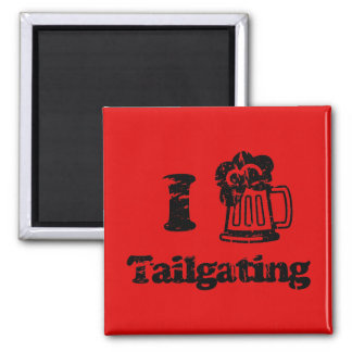 I Heart Tailgating with Beer Mug - Any Team Colors Square Magnet