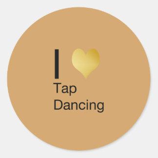 I Heart Tap Dancing Round Sticker