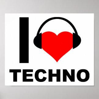 I Heart Techno Funny Poster