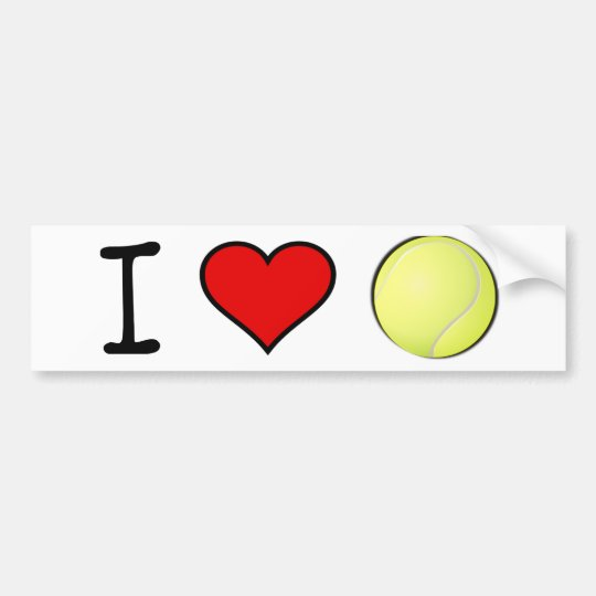 I HEART TENNIS BALL BUMPER STICKER