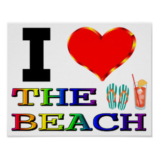 I Heart The Beach Poster