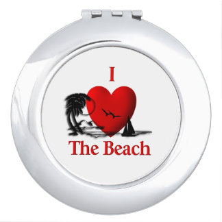 I Heart The Beach Travel Mirror