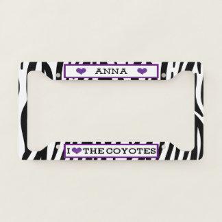 I Heart The Coyotes Zebra License Plate Frame