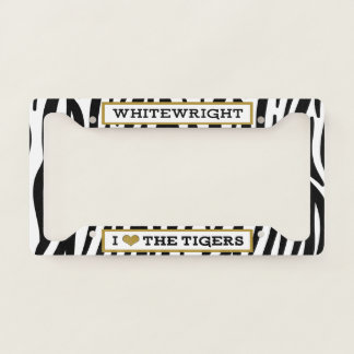 I Heart The WW Tigers Zebra License Plate Frame