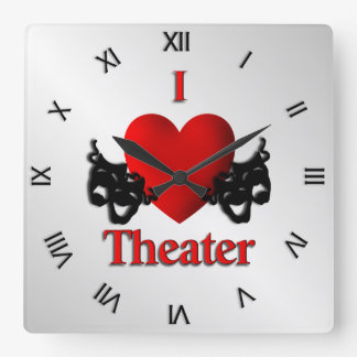 I Heart Theater Roman Numerals Square Wall Clock