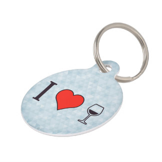 I Heart To Drink A Glass Of Wine Pet Name Tag
